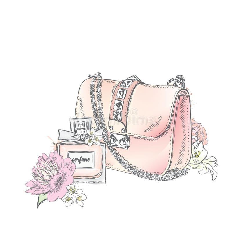 De mooie zak met een boeket van rozen en pioenen goot, en een fles parfum Vector illustratie Manier & Stijl stock illustratie