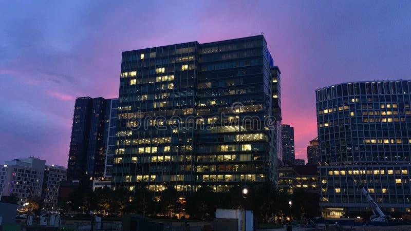 De mooie zonsondergang van Boston stock afbeelding