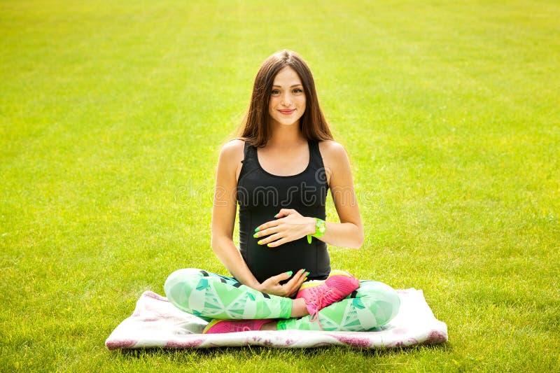 De mooie zwangere vrouw stock fotografie
