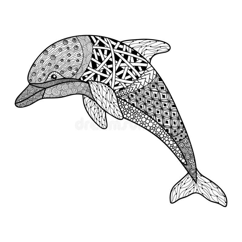 De mooie zwart-wit zwart-witte dolfijn met decoratief bloeit elementen royalty-vrije illustratie