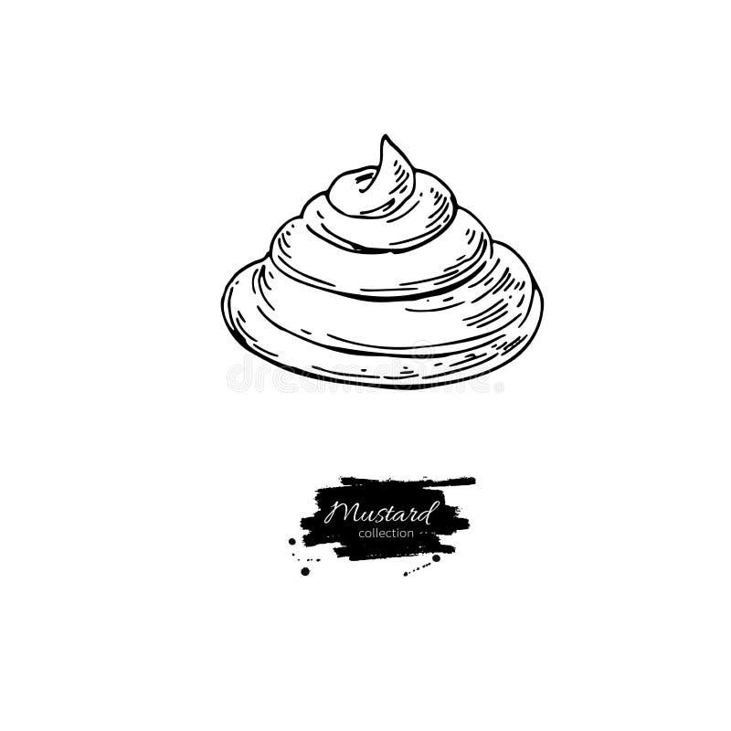 De morserij vectortekening van de Mustradsaus Het hand Getrokken Ingrediënt van het Voedsel royalty-vrije illustratie