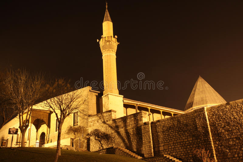 De moskee Alaeddin bij nacht, Konya. stock foto