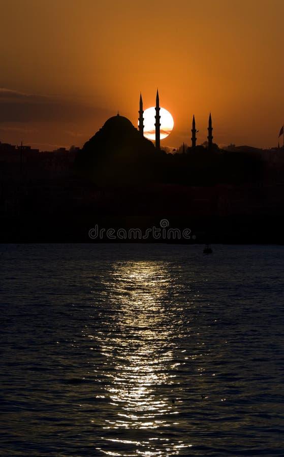 De Moskee en de Zonsondergang van Suleymanie royalty-vrije stock fotografie