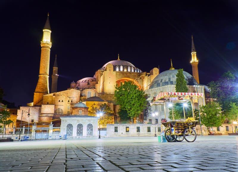 De moskee van Hagia Sophia bij nacht met maïskolven blokkeert in voorgrond Istanboel, Turkije royalty-vrije stock afbeelding
