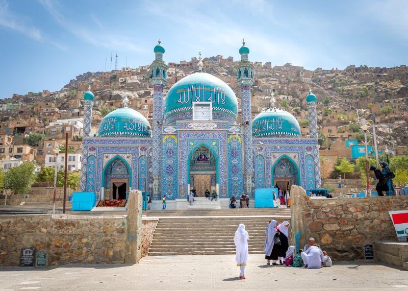 De moskee van Kaboel en jong meisje in Afghanistan stock afbeeldingen