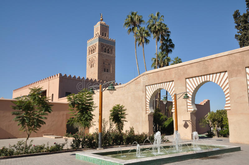De Moskee van Koutoubia, Marrakech stock afbeelding