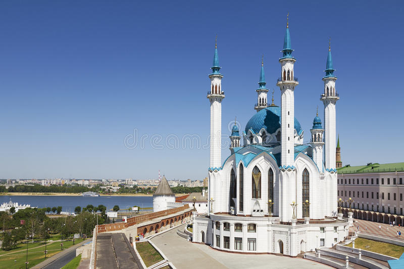 De moskee van Kul Sharif in Kazan het Kremlin Rusland stock afbeelding