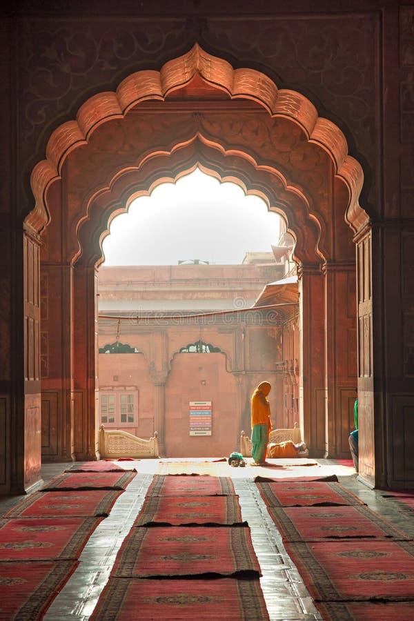 De Moskee van Masjid van Jama, oud Delhi, India. royalty-vrije stock afbeelding