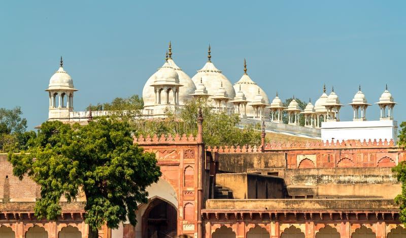 De Moskee van Moti Masjid of van de Parel bij Agra-Fort, India stock foto's