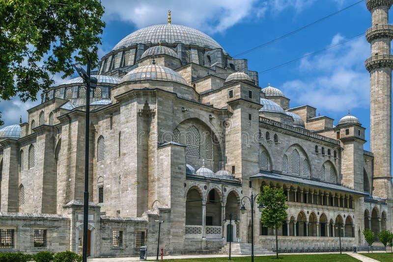 De moskee van Suleymaniye, Istanboel, Turkije stock afbeelding