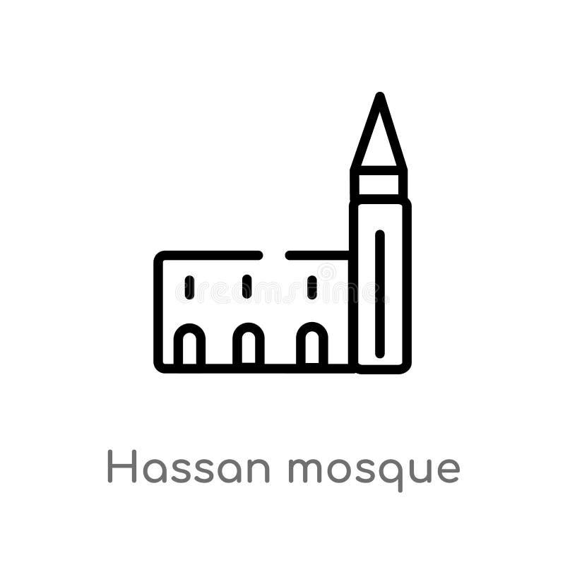 de moskee vectorpictogram van overzichtshassan de ge?soleerde zwarte eenvoudige illustratie van het lijnelement van monumentencon royalty-vrije illustratie
