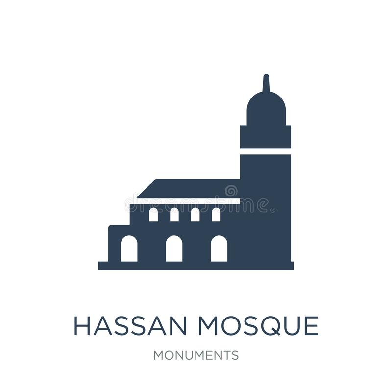 de moskeepictogram van Hassan in in ontwerpstijl de moskeepictogram van Hassan op witte achtergrond wordt geïsoleerd die eenvoudi stock illustratie