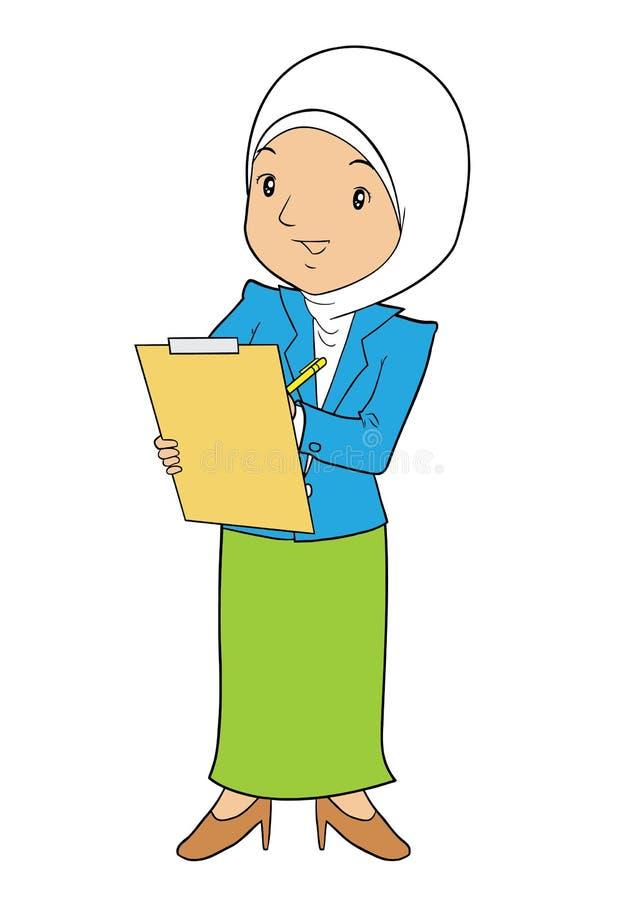 De moslimbureaudame dient een rapport in stock illustratie