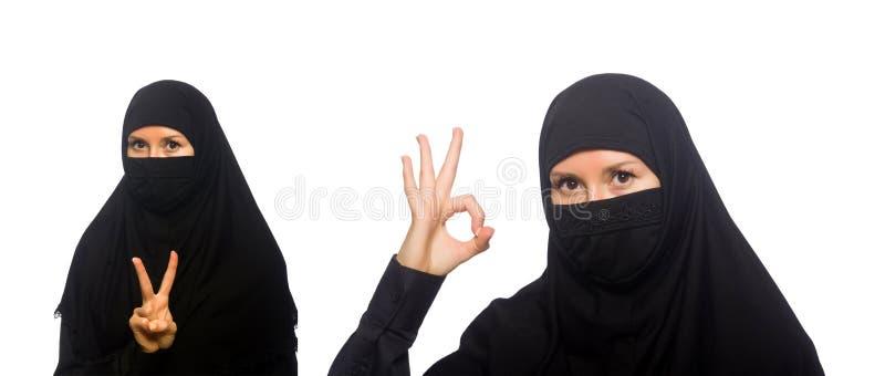 De moslimdievrouw op het wit wordt geïsoleerd stock afbeelding
