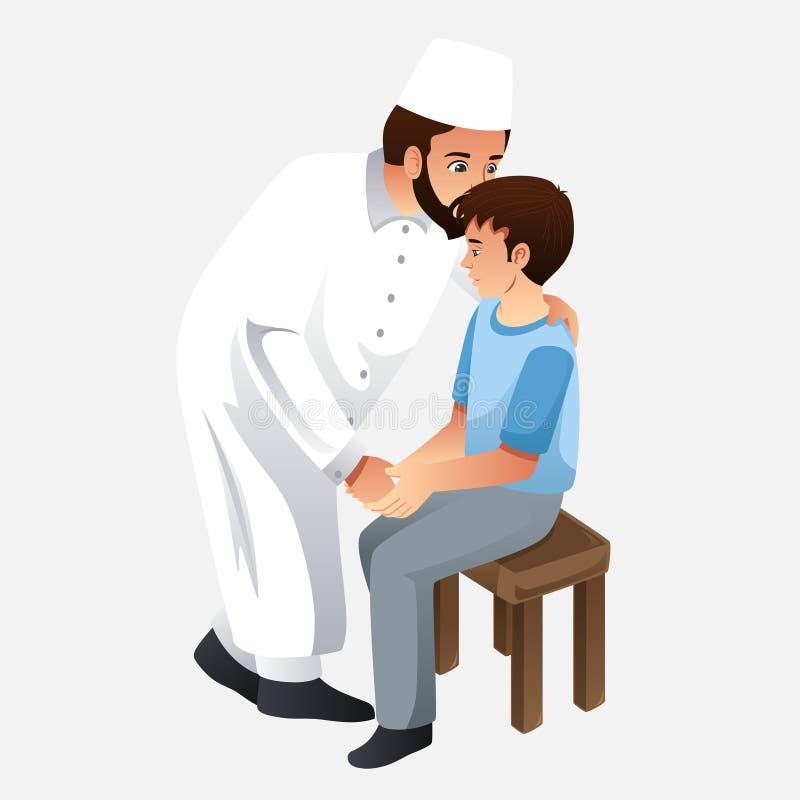 De moslimillustratie van Vaderkissing his son vector illustratie