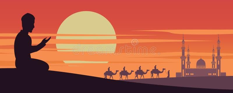De moslimmens bidt terwijl kameel van de caravan de Moslimrit aan moskee van Doubai op zonsondergangtijd, de traditie van Arabier royalty-vrije illustratie