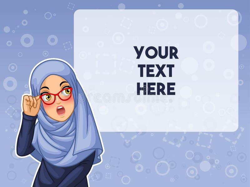 De moslimvrouw schokte met het houden van haar glazen vectorillustratie vector illustratie