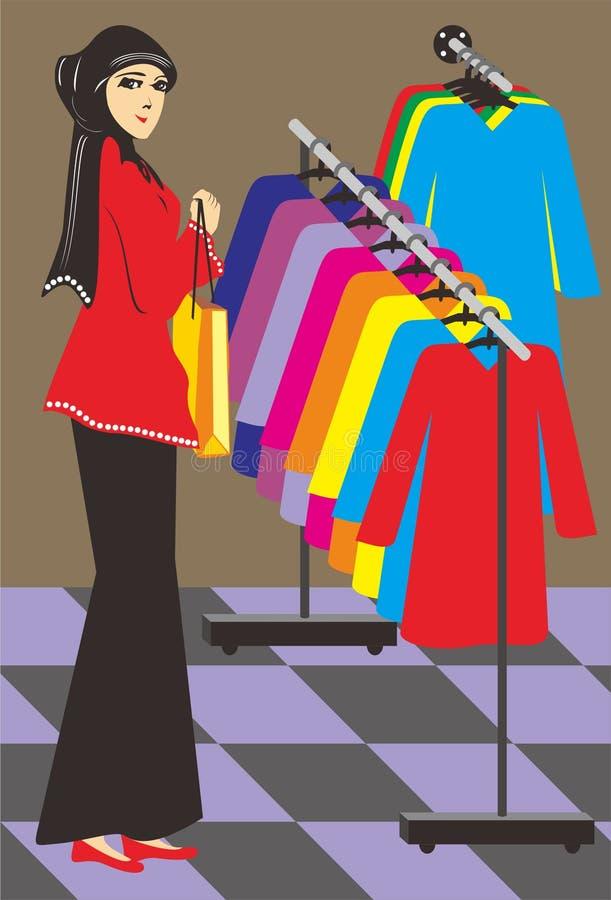 De moslimvrouwen winkelen stock afbeeldingen