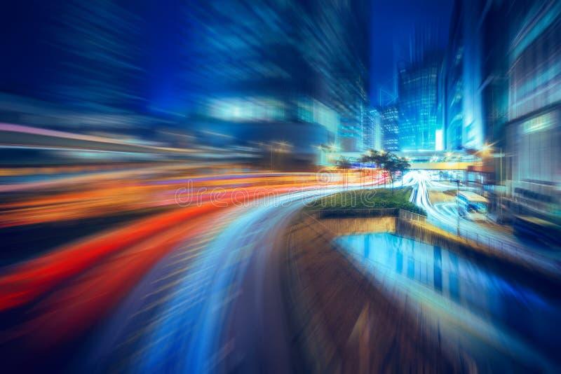 De motie vage Hong Kong-scènes van de stadsnacht voor achtergrond stock afbeelding
