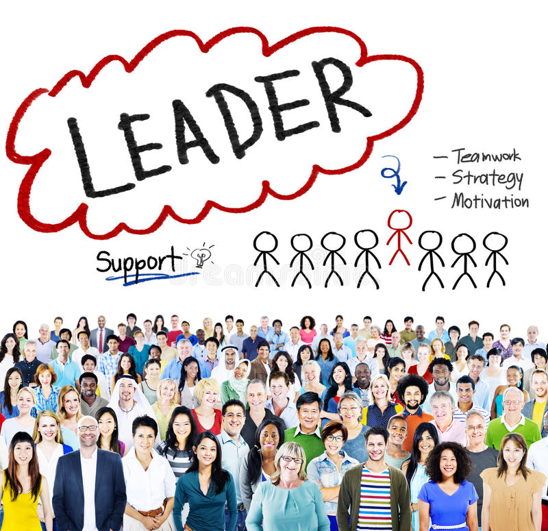 De Motivatieconcept van leiderssupport teamwork strategy royalty-vrije stock fotografie