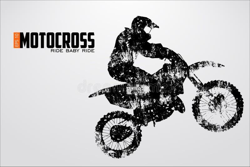 De motocrossbestuurders silhouetteren Vector illustratie
