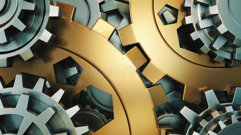 De motor past wielen, close-upmening aan plaats voor uw inschrijving Achtergrondmodel 3d illustraties stock illustratie