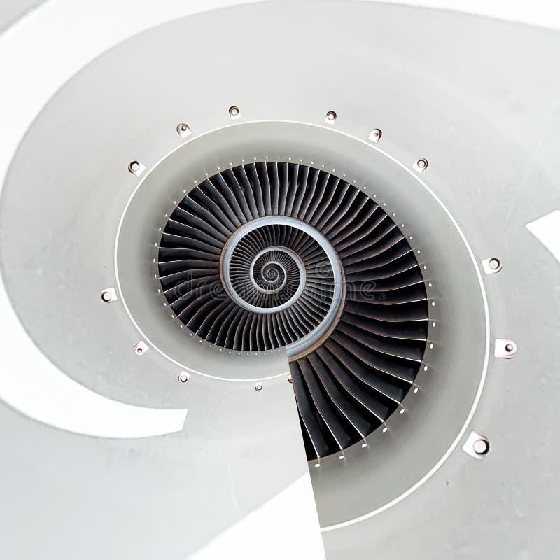 De motor spiraalvormige abstracte achtergrond van het luchtvliegtuig Motorfractal achtergrond Industrieel oneindigheids spiraalvo royalty-vrije stock afbeelding