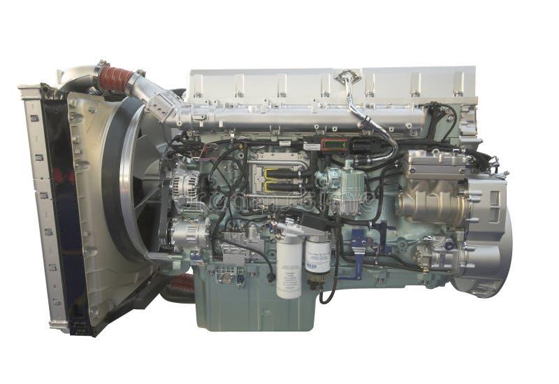 De motor van de vrachtwagen, die op wit wordt geïsoleerde stock fotografie