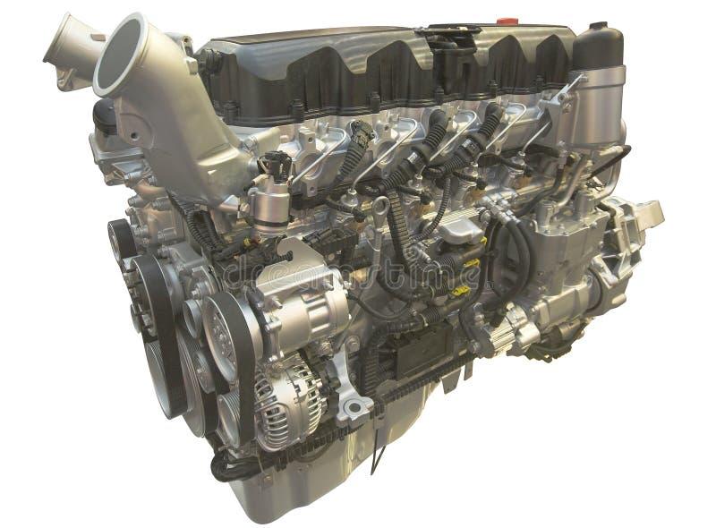 De motor van de vrachtwagen, die over wit wordt geïsoleerdn royalty-vrije stock fotografie