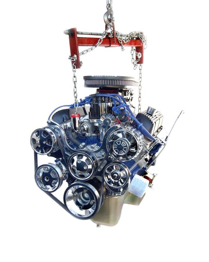 De Motor van het Chroom van hoge Prestaties V8 op hijstoestel royalty-vrije stock foto