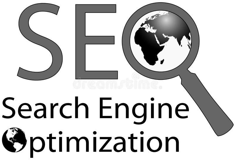 De Motor van het Onderzoek van het vergrootglas SEO Internet royalty-vrije illustratie