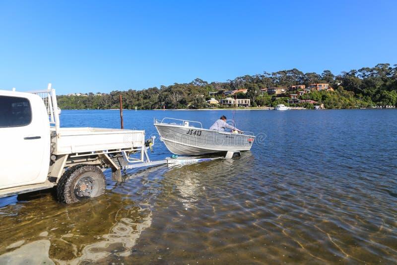 De motorboot op gebied van de malllacooto het natuurlijke bescherming, Australië stock afbeeldingen