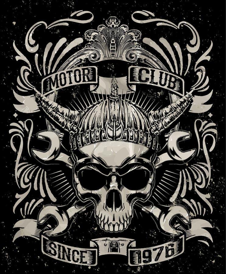 De motorfiets grafisch ontwerp van de T-stukschedel vector illustratie