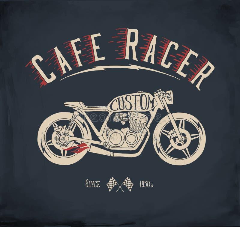 De motorfiets van de koffieraceauto Uitstekende hand getrokken gestileerde vectorillustratie royalty-vrije illustratie