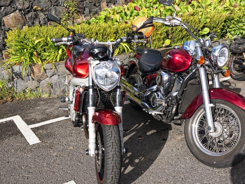 De motorfietsen houden onbeweeglijk in de bergen op het Eiland Madera Portugal op stock afbeelding