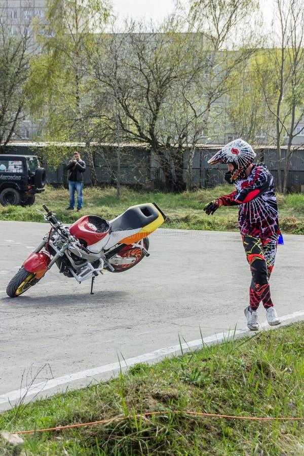 De motorfietsstunts, tonen in MTS Szczecin royalty-vrije stock foto