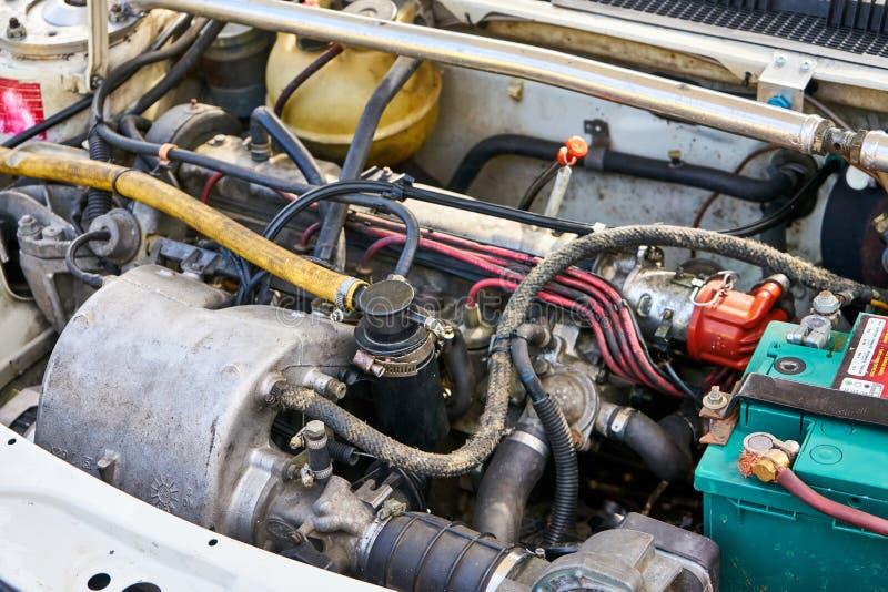 de Motormotor van 1980 ` s op een Uitstekende Auto royalty-vrije stock foto's