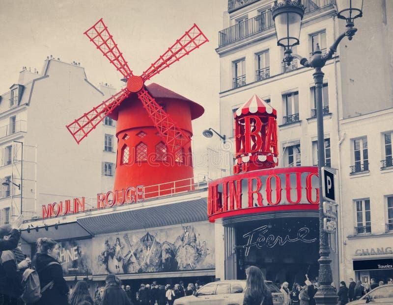 De Moulin-Rouge met retro uitstekende Instagram-stijlfilter effe stock afbeelding