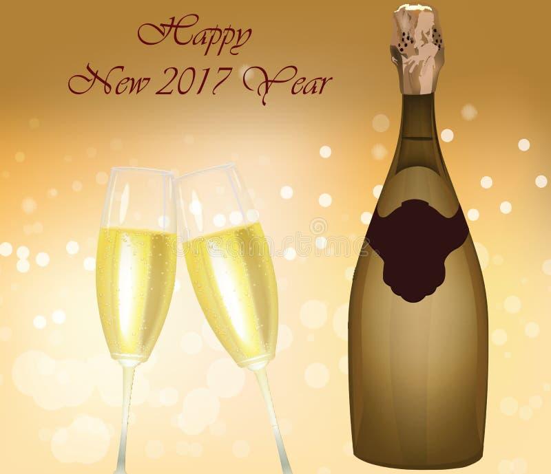 De mousserende wijnfles van de nieuwjaarvooravond royalty-vrije illustratie