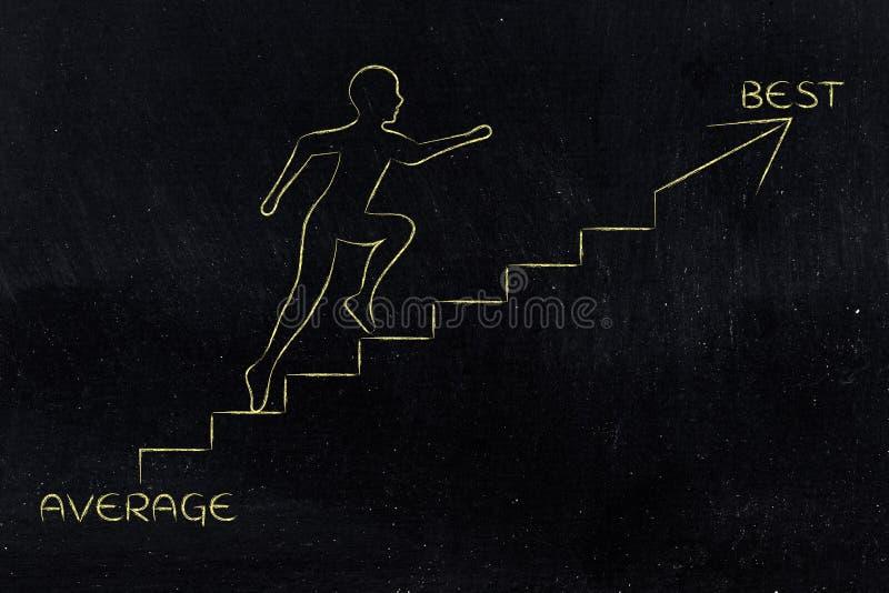 Download De Moyen Au Meilleur, Métaphore S'élevante D'escaliers D'homme Image stock - Image du planification, potentiel: 77153685