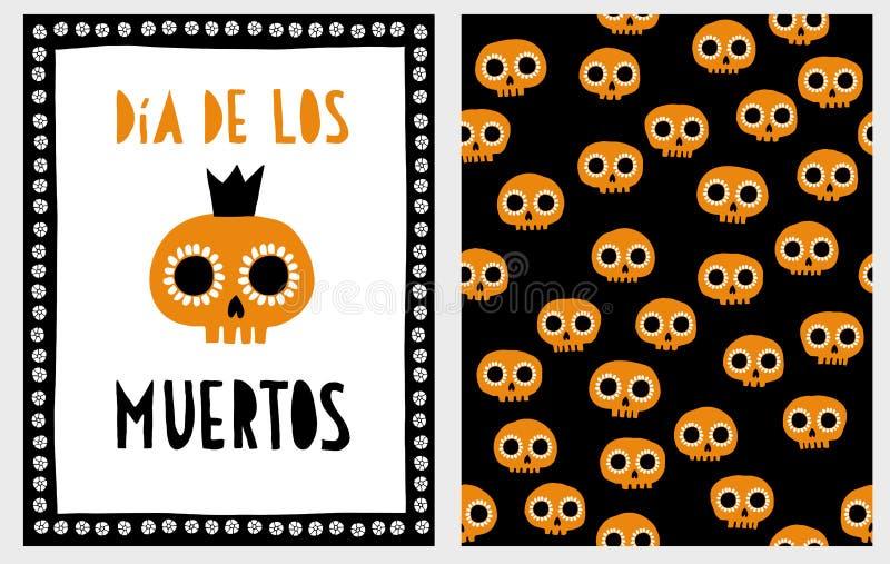 de muertos Dia Los Halloweenowy Wektorowy ilustracja set ilustracja wektor