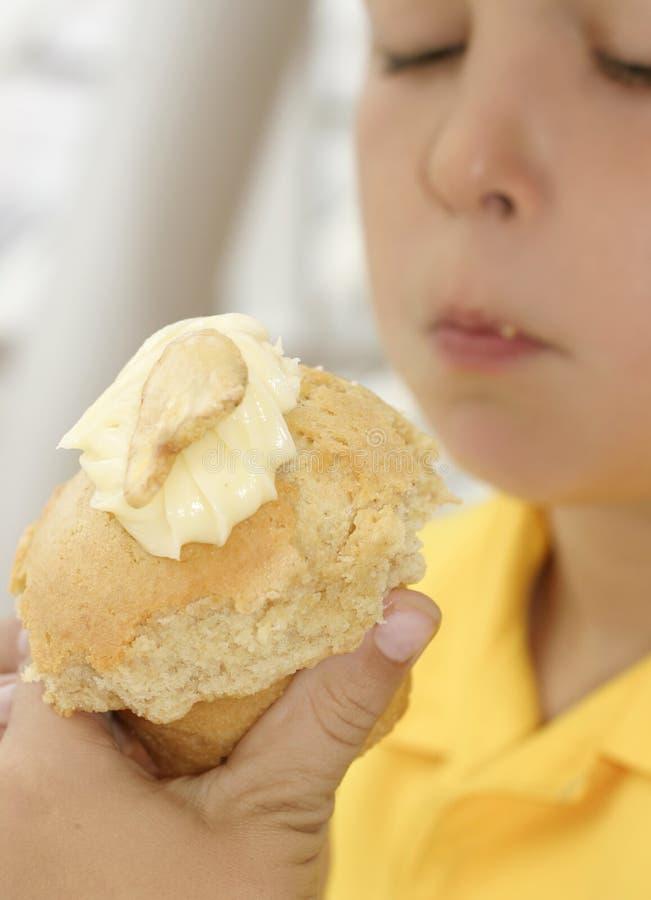 De Muffin van de banaan stock afbeeldingen