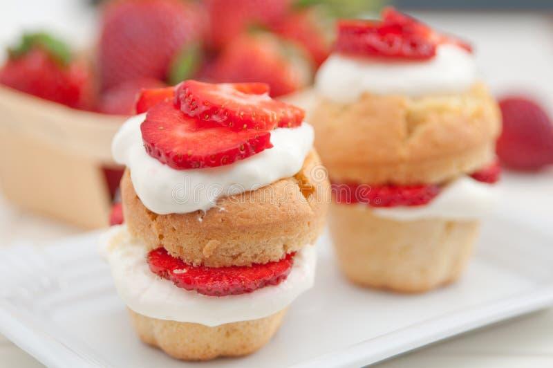 De Muffins van aardbeishortcake royalty-vrije stock afbeeldingen