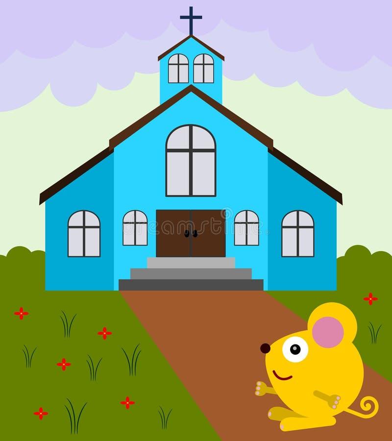 De muis gaat naar kerk vector illustratie