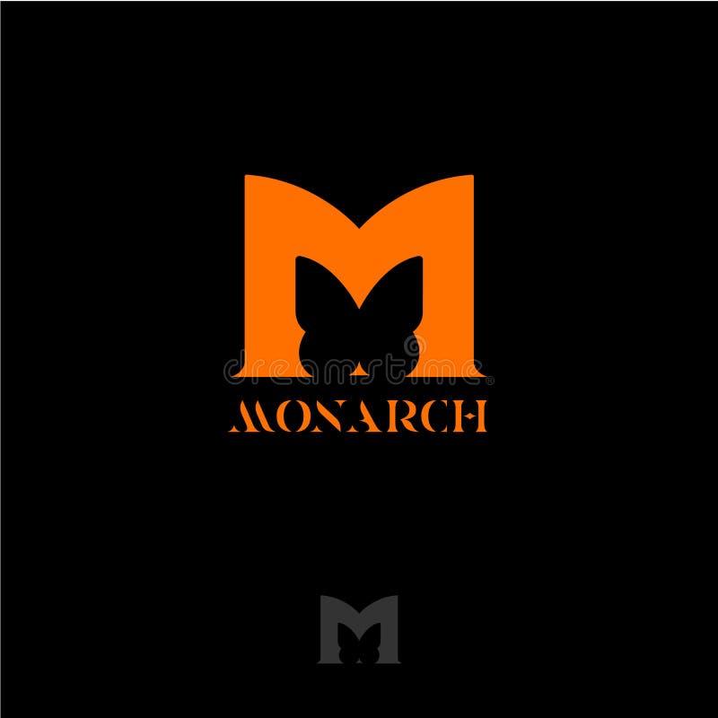 De muis magische aap van de Alphabet Oranje brief M met vlindersilhouet Monarchvlinder het van letters voorzien stock illustratie