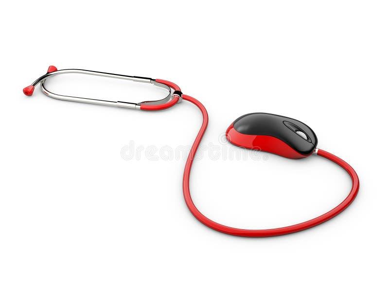 de muis medisch online concept van de stethoscoopcomputer, 3d Illustratie vector illustratie