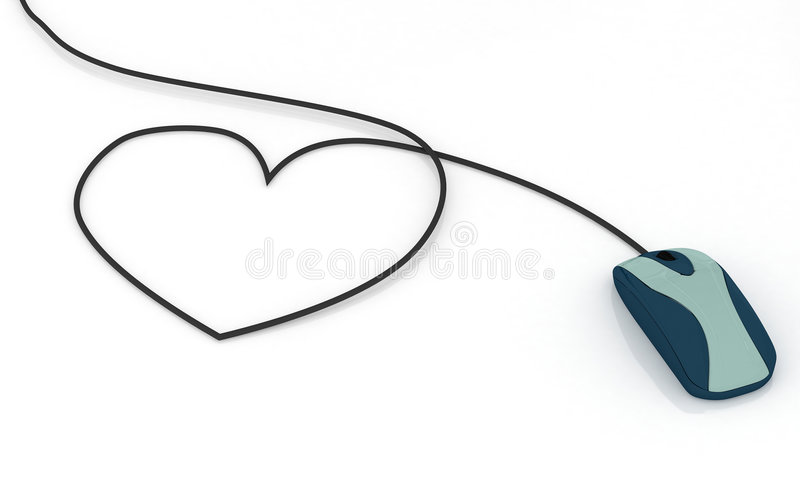 De muis van de computer met hart gevormde kabel royalty-vrije illustratie