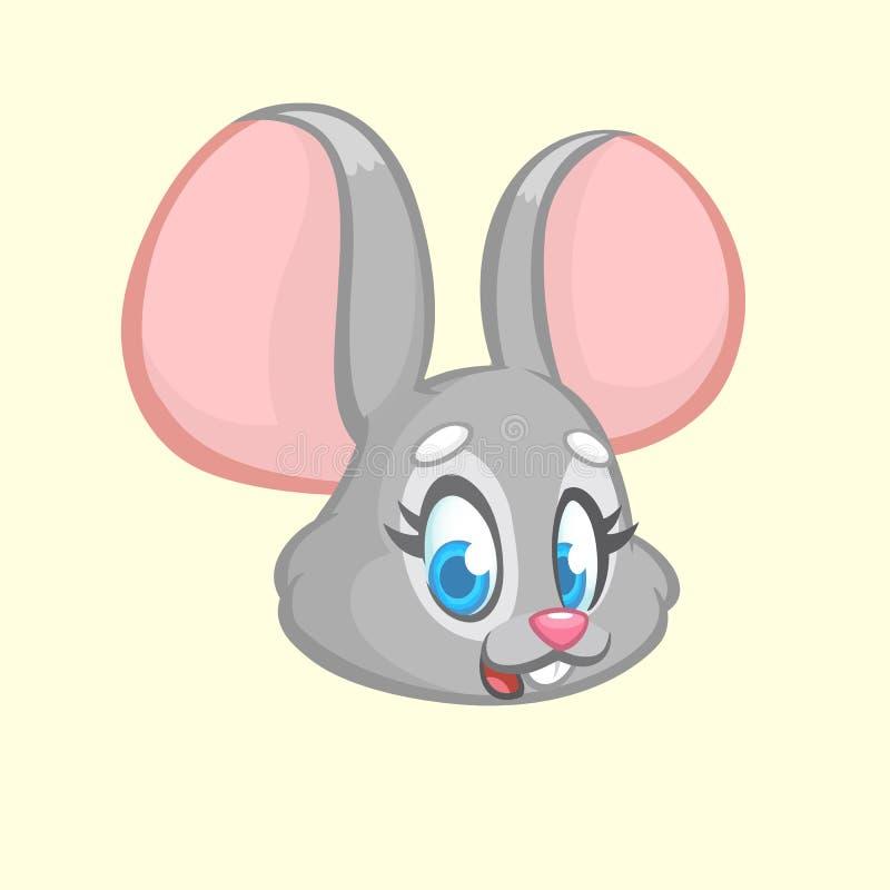 De muis van het beeldverhaal Vectorillustratie van grijs muis hoofdpictogram stock illustratie