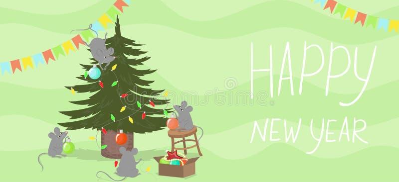 De muizen verfraaien de Kerstboom Nieuwe jaarbanner Het symbool van 2020 Vector illustratie vector illustratie