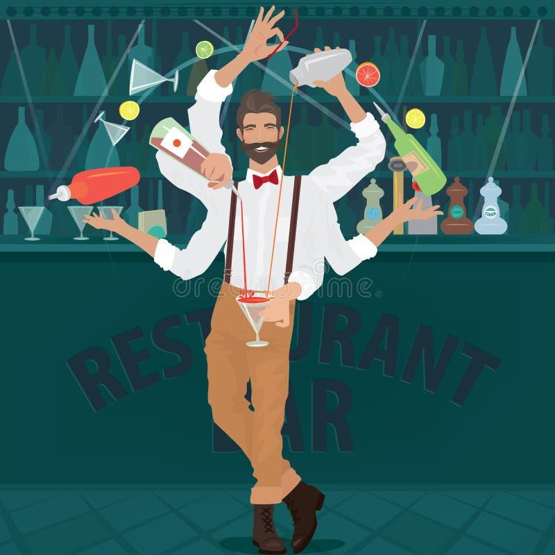 De multi-bewapende barman hipster bereidt cocktail voor stock illustratie